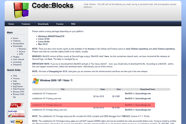 code blocks 12.11 mingw